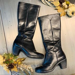 Dansko | Black Leather Knee High Heeled Boots